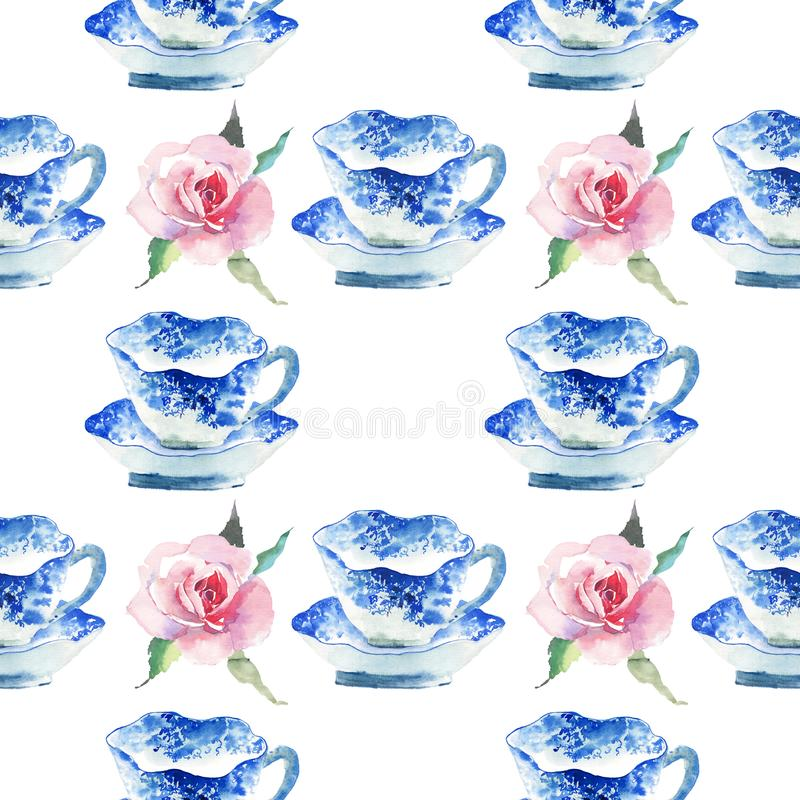 Beautiful graphic lovely artistic tender wonderful blue porcelain china tea cups with lovely pink roses flowers pattern watercolor stock illustration