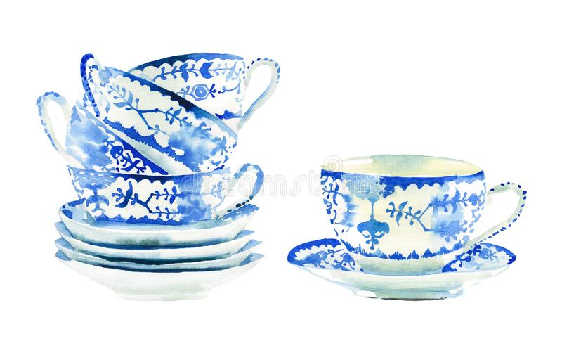 Beautiful graphic lovely artistic tender wonderful blue porcelain china tea cups pattern watercolor hand illustration. Perfect for menu, textile, wallpapers stock photography