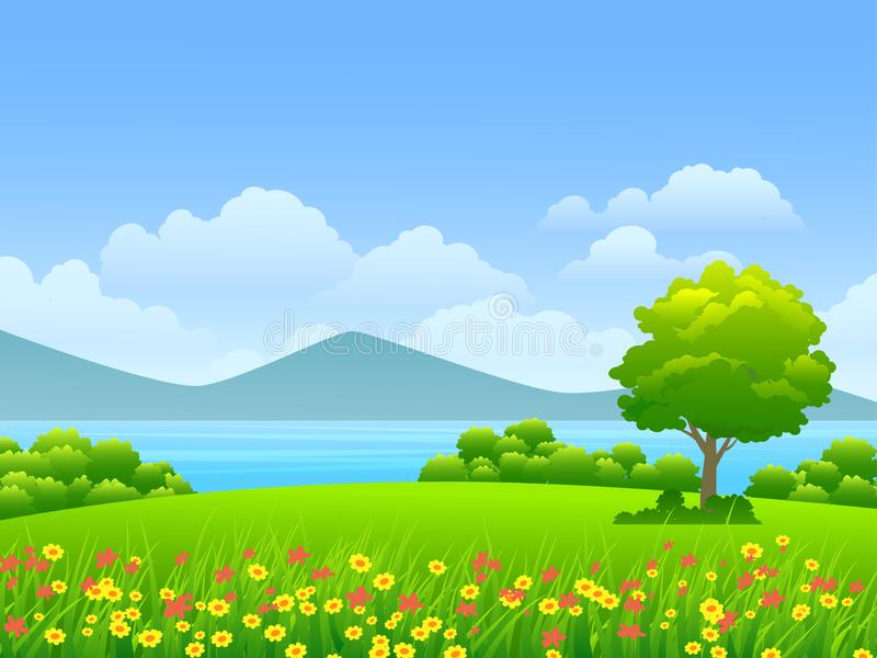Beautiful grassland in countryside. Vector illustration of beautiful grassland in countryside with colorful flowers and blue sky in sunny day royalty free stock photography