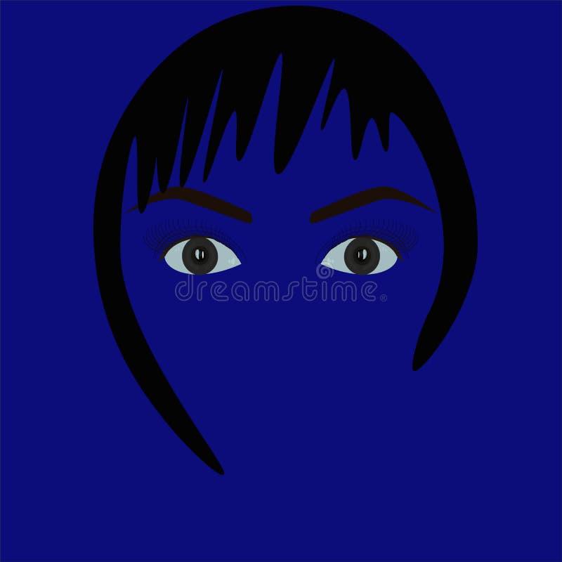 Beautiful gray eyes. Girl. Vector stock image