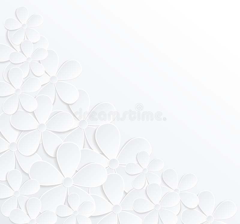 Beautiful gray and white background with flowers made of paper with a place for text. stock illustration
