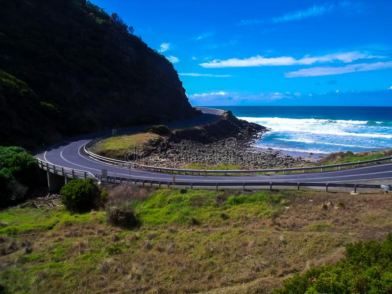 Stunning view of the beautiful Great Ocean Road, Victoria, Australia. Beautiful Great Ocean Road, Victoria, Australia stock photography