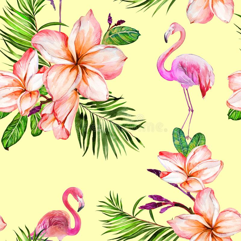 Beautiful greater flamingo and plumeria flowers on yellow background. Exotic tropical seamless pattern. Watecolor painting. Hand painted illustration vector illustration