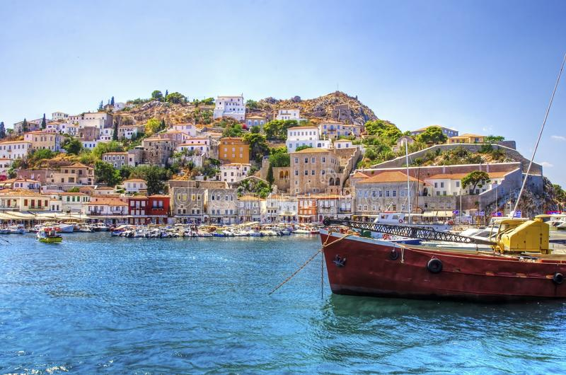 Beautiful Greek island, Hydra stock image