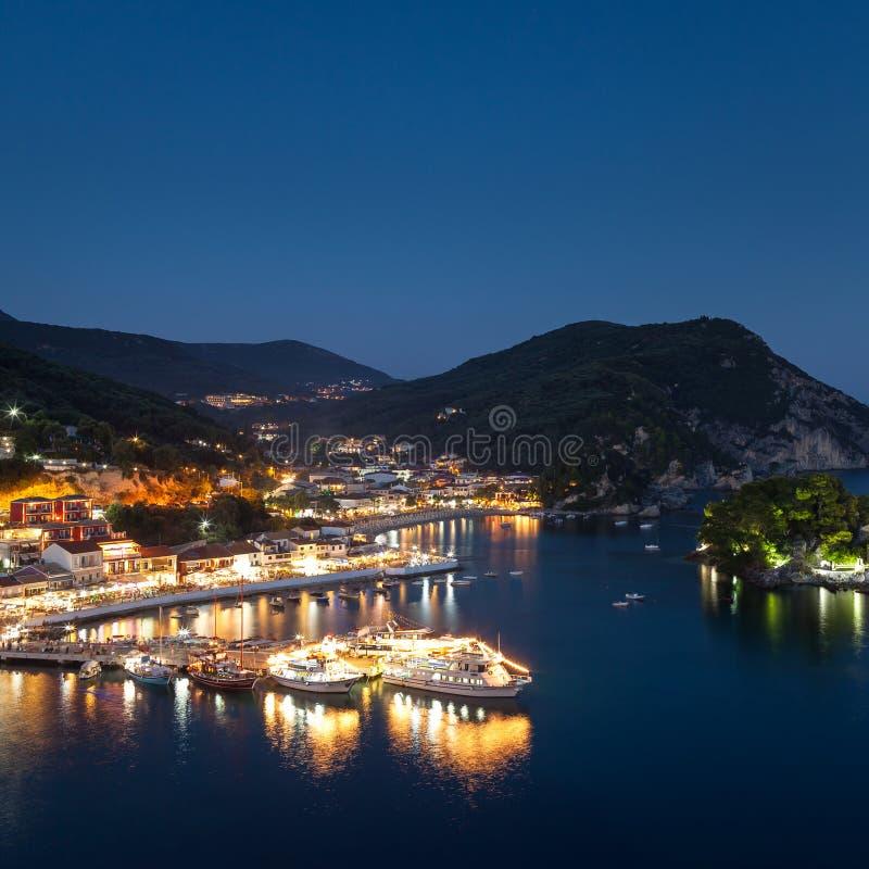 Beautiful Greek village Parga by night, Greece, Epirus region stock photos