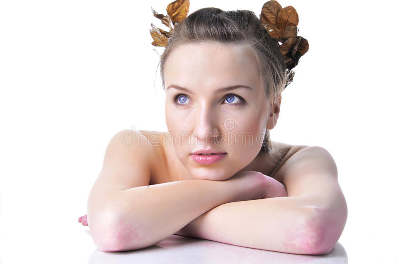 Beautiful Greek woman in a gold laurel wreath. stock image