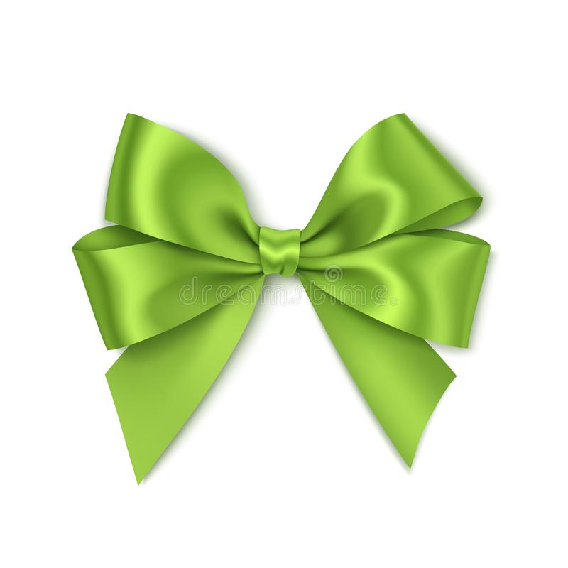 Free Beautiful Green Bow For Gift Decor. Holiday Decoration. Vector Bow Isolated On White Background Royalty Free Stock Photos - 108221708