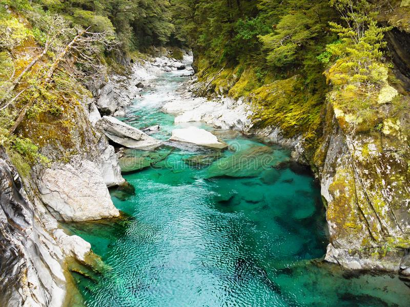 Beautiful Canyon River, New Zealand Landscape. Beautiful green canyon river. Queenstown, New Zealand landscape royalty free stock photography