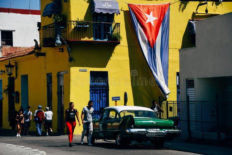 Beautiful classic car in Havana, Cuba. Beautiful green classic car parked in the street in Havana, Cuba royalty free stock photo