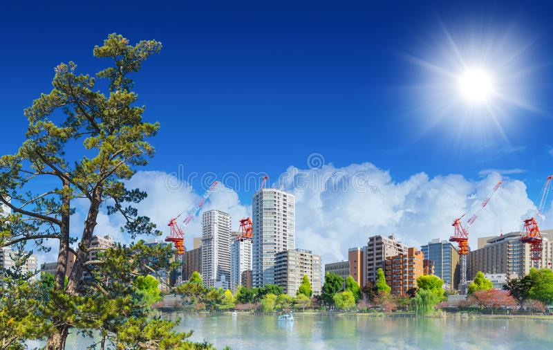 Beautiful green and clean city metro landscape royalty free stock photo