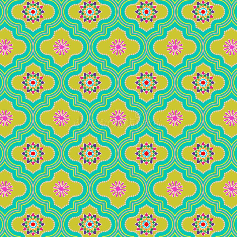 Beautiful green colorful decorated Moroccan seamless pattern with colorful floral designs stock illustration