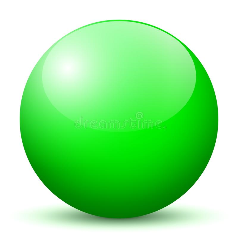 Sphere - Simple Green Shiny 3D Sphere with Bright Reflection - Vector Illustration vector illustration
