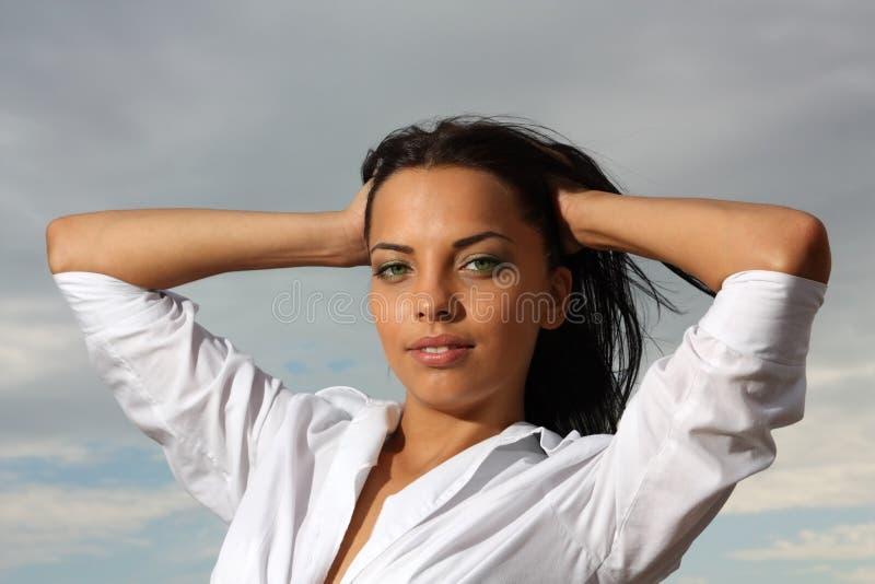 Beautiful green-eyed girl royalty free stock photo