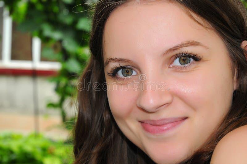 Beautiful green eyes stock photography