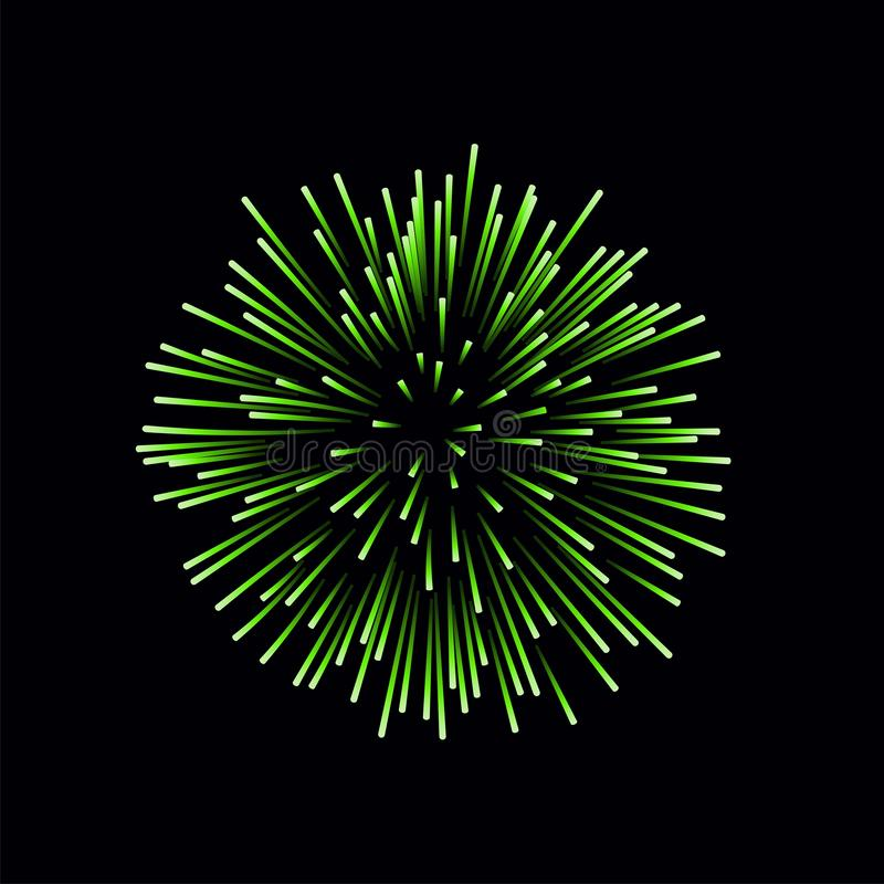 Beautiful green firework. Bright firework isolated on black background. Light green decoration firework for Christmas stock illustration