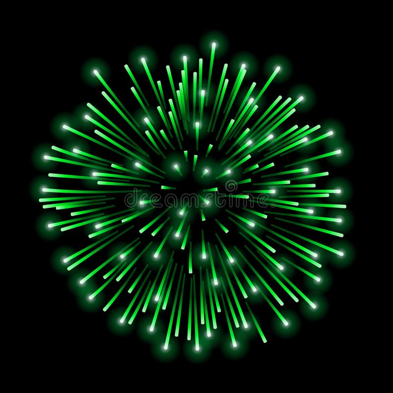 Beautiful green firework. Bright salute isolated on black background. Light decoration firework for Christmas, New Year royalty free illustration