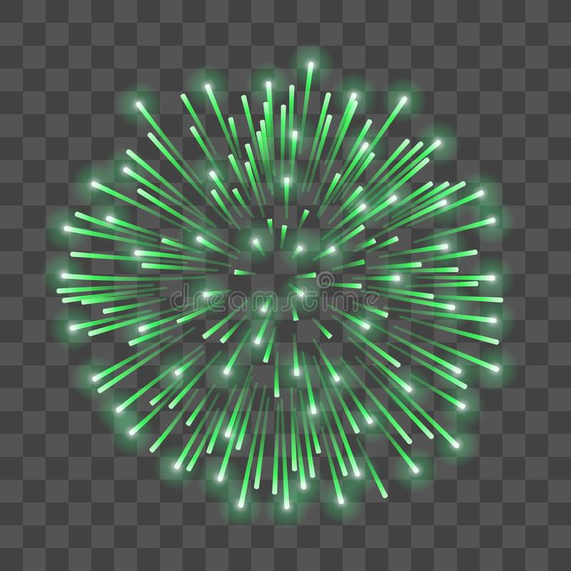 Beautiful green firework. Bright salute isolated transparent background. Light decoration firework for Christmas, New stock illustration