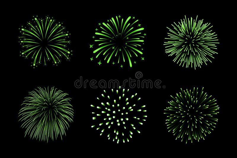 Beautiful green fireworks set. Bright fireworks isolated black background. Light green decoration fireworks for stock illustration