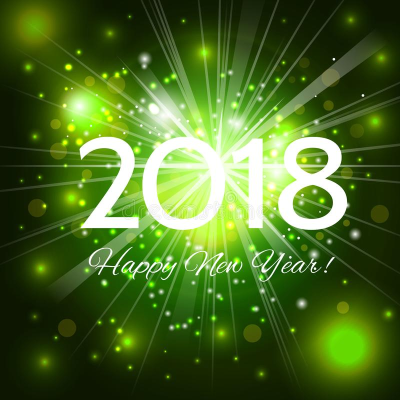 Free Beautiful Green Fireworks With Greetings Happy New Year 2018! Stock Photography - 102197302