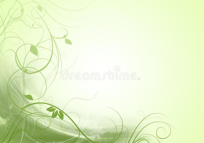 Beautiful green floral design - spring time illustration.  stock illustration