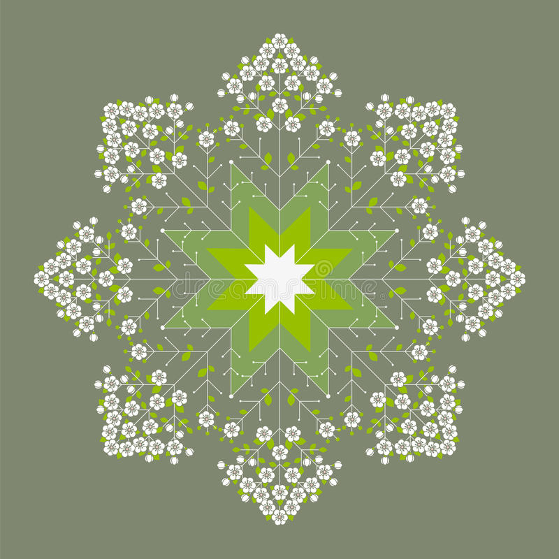 Beautiful green flower spring mandala. Decoration textile design royalty free illustration