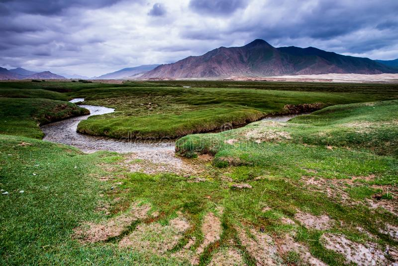 Beautiful green grassland and river highland Landscape in China Tibet royalty free stock photo