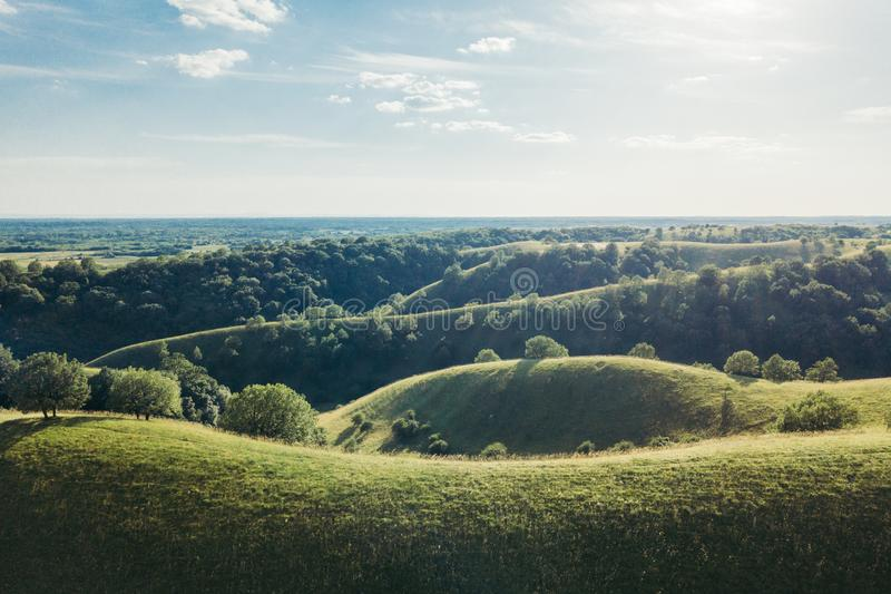 Beautiful green hills landscape in springtime stock image