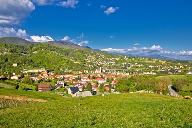 Beautiful green hills of Zagorje. Region of Croatia, Krapina view stock photo