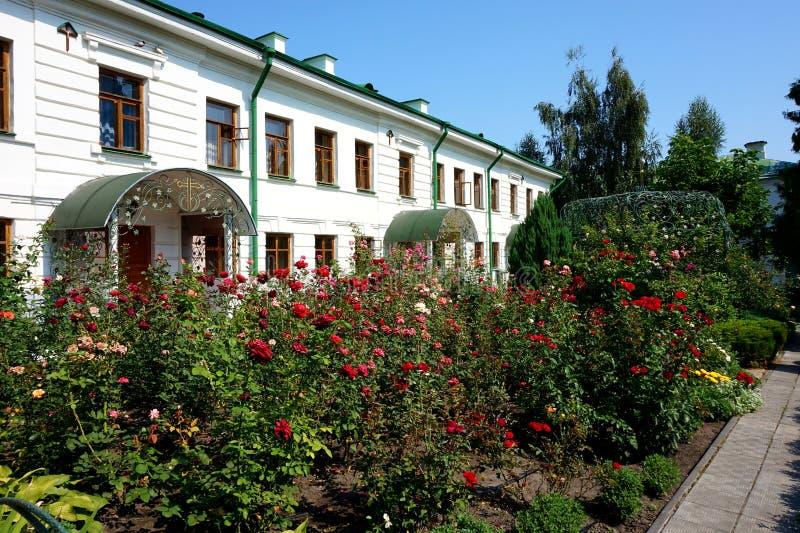 Beautiful green inner courtyard of the Ascension Florovsky Monastery in Kiev. Beautiful green inner courtyard of the Ascension Florovsky Convent in Kiev royalty free stock image