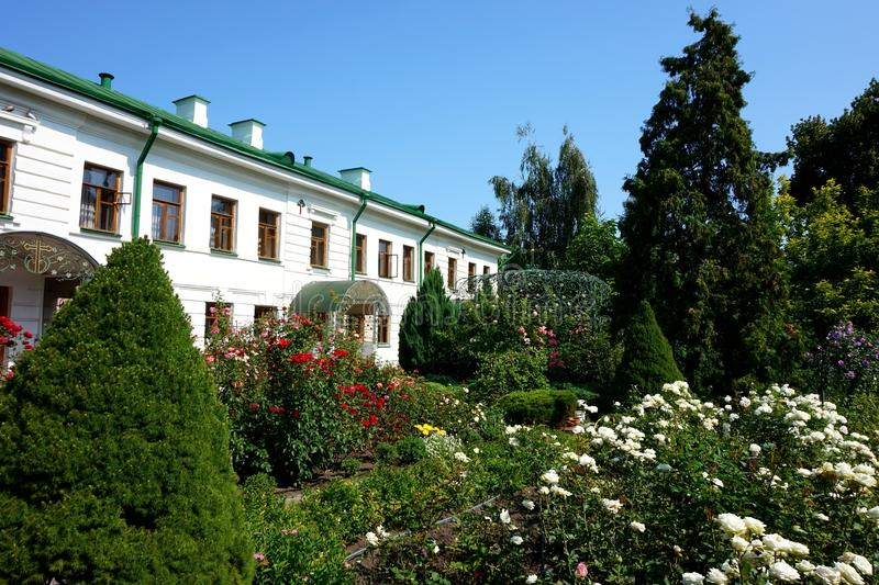 Beautiful green inner courtyard of the Ascension Florovsky Monastery in Kiev. Beautiful green inner courtyard of the Ascension Florovsky Convent in Kiev stock image