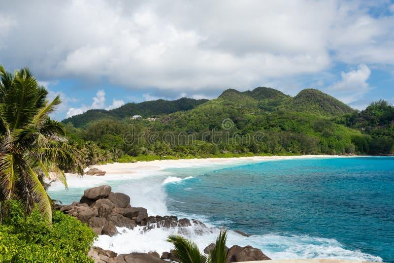 Beautiful green lagoon view at Seychelles island royalty free stock photography