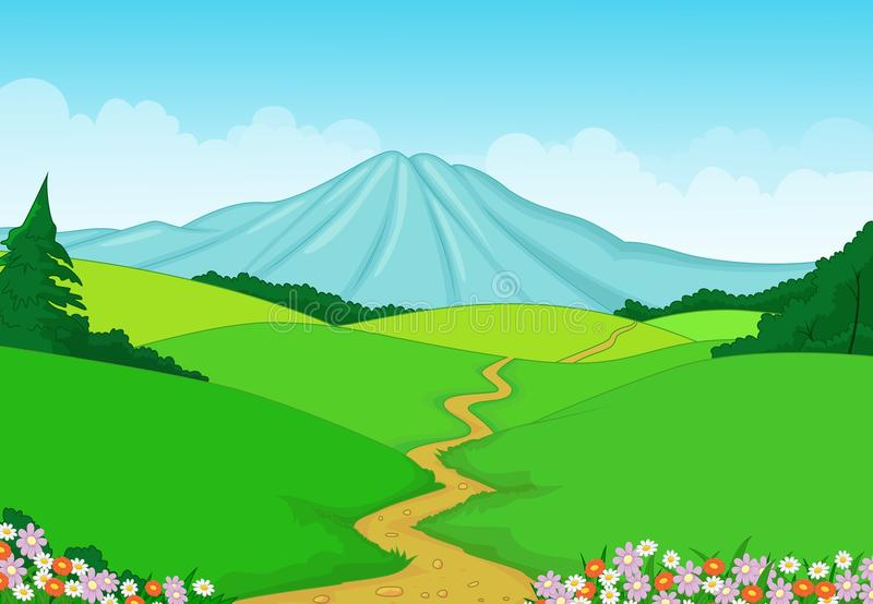 Beautiful green landscape background stock illustration