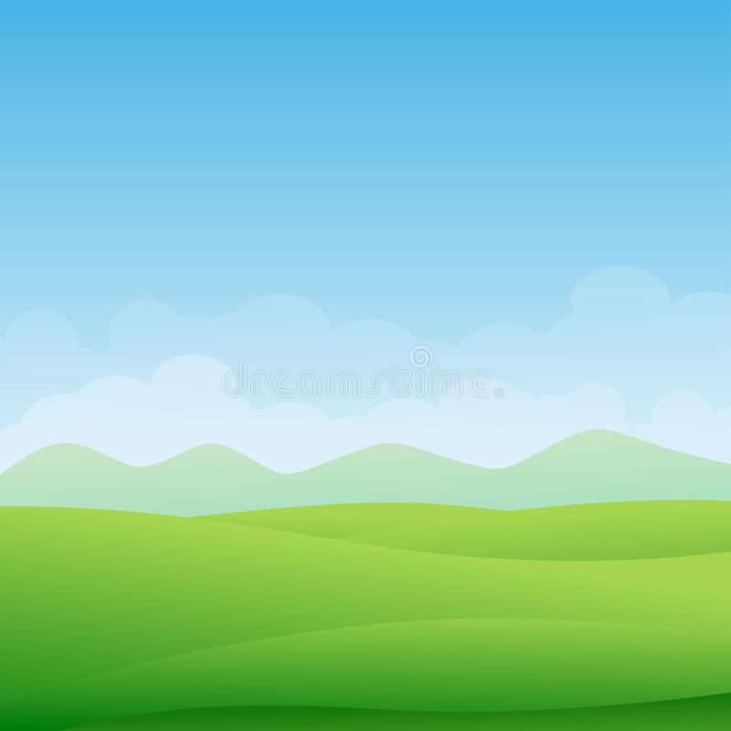 Beautiful green landscape with green meadow, mountain and blue sky. Vector illustration royalty free illustration