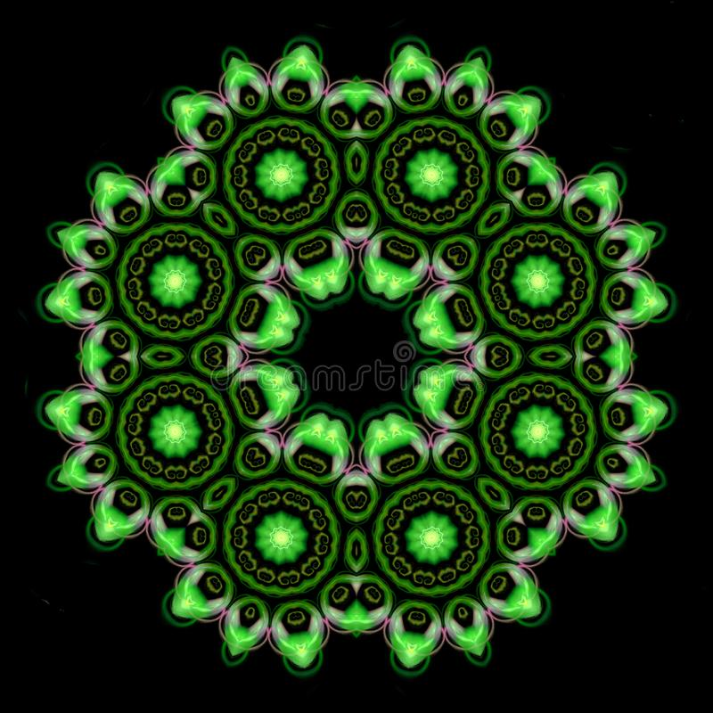 Beautiful green mandala ornament on black isolated background vector illustration