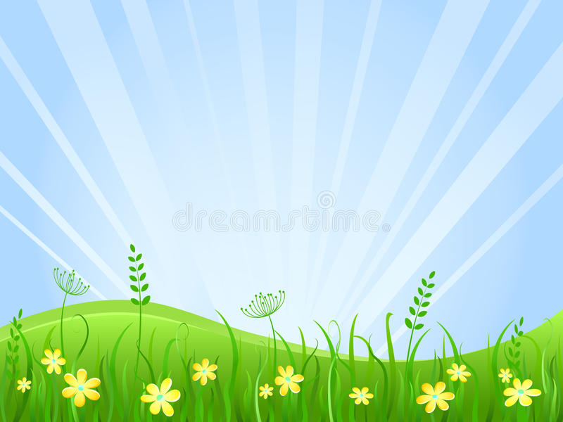 Beautiful green meadow scene. Illustration of Grass at Lawn With Blue Sky royalty free illustration