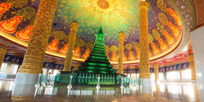 Beautiful green pagoda in bangkok thailand stock image