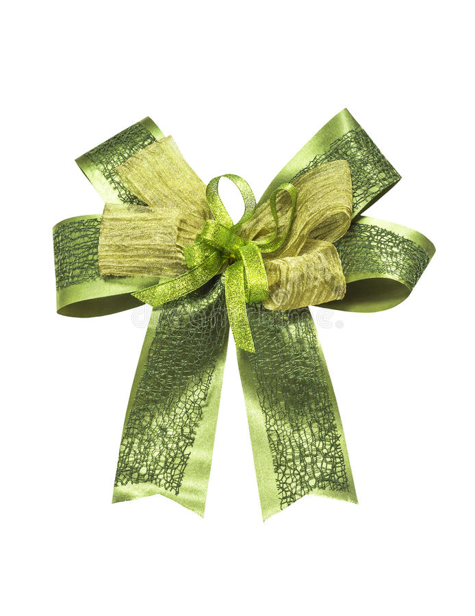 Beautiful green ribbon on white. Beautiful green ribbon isolated on white with clipping parh stock photos