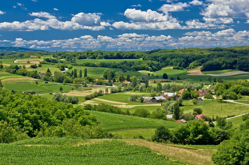Beautiful green scenery landscape in spring time. Village of Zaistovec, Croatia stock photography