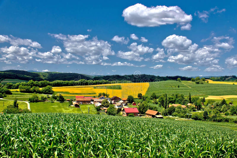 Beautiful green village scenery landscape in spring time III stock images