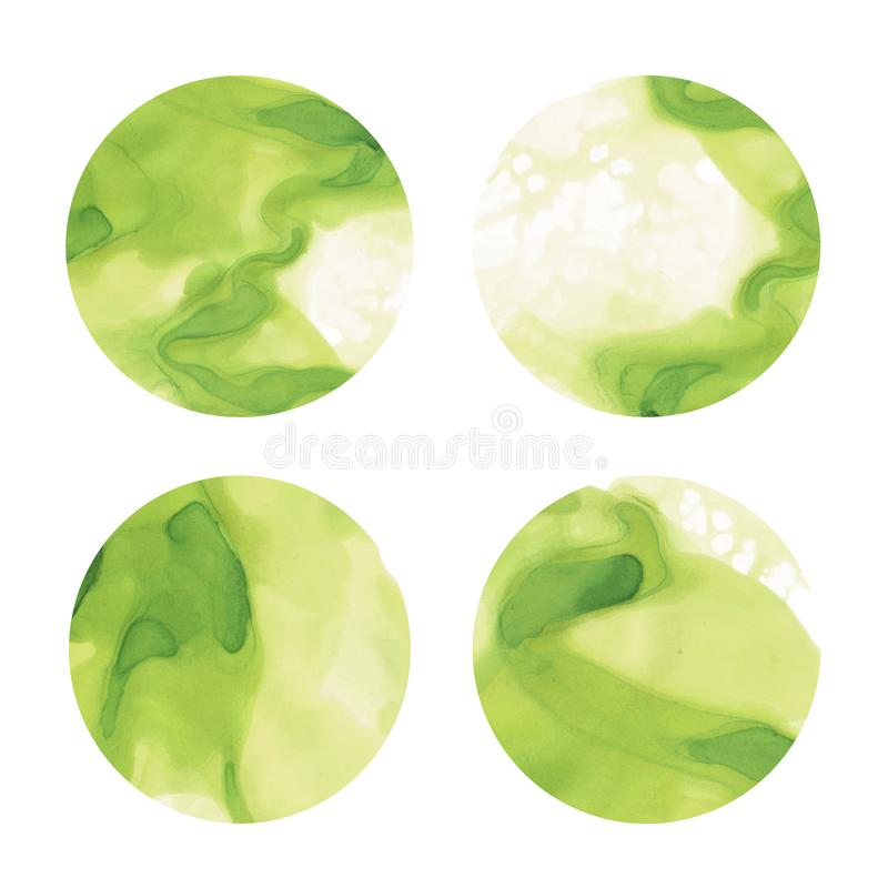 Beautiful green watercolor abstract circle design elements stock illustration