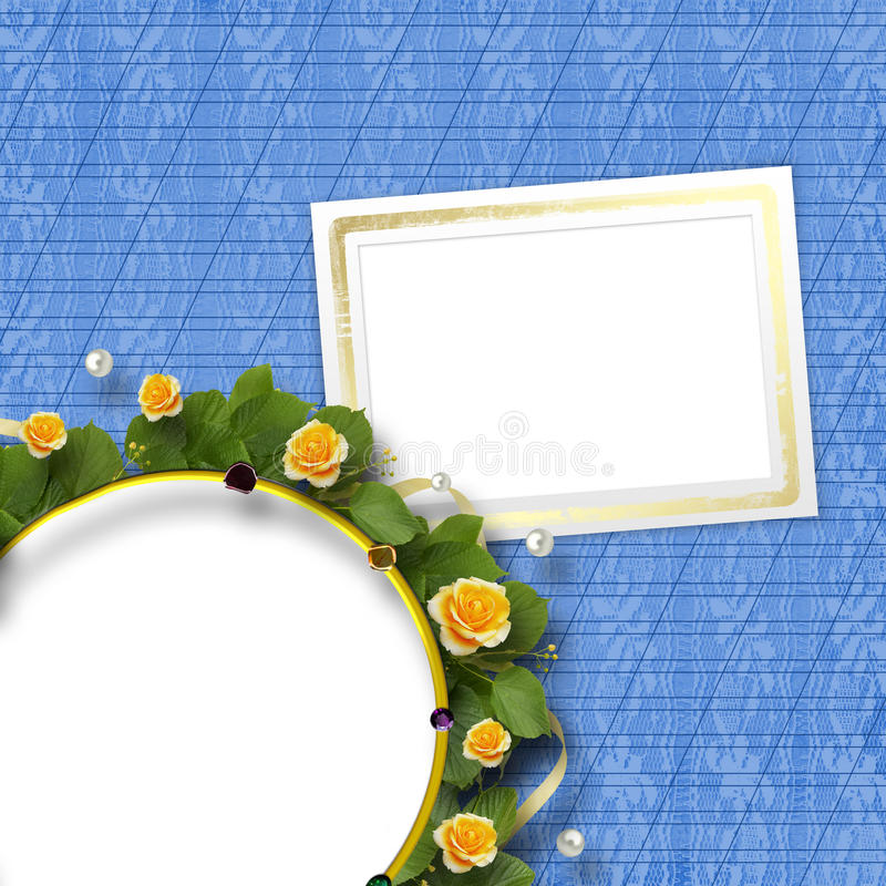 Beautiful greeting card with a bouquet of yellow roses. Beautiful greeting card with bouquet of yellow roses, ribbons and round frame stock images