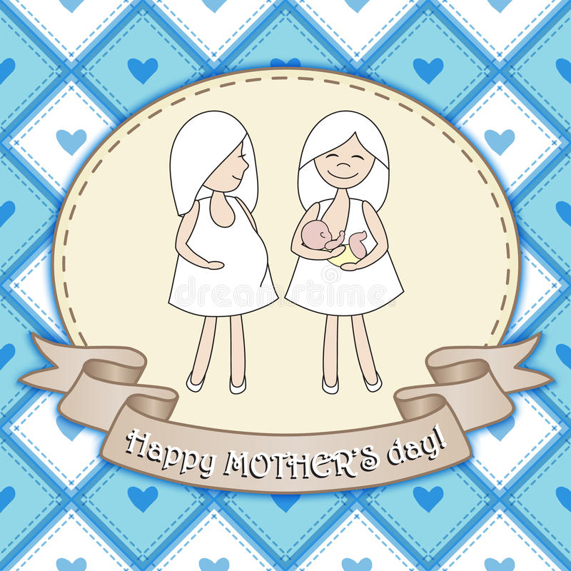 Beautiful greeting card design with two women for Happy Mother's. Day celebration. Vector illustration royalty free illustration