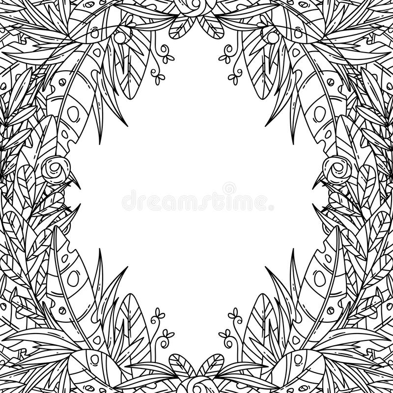 Beautiful greeting card with floral cartoon frame. Can be used as creating card, invitation card for wedding, birthday and other holiday and cute background royalty free stock images