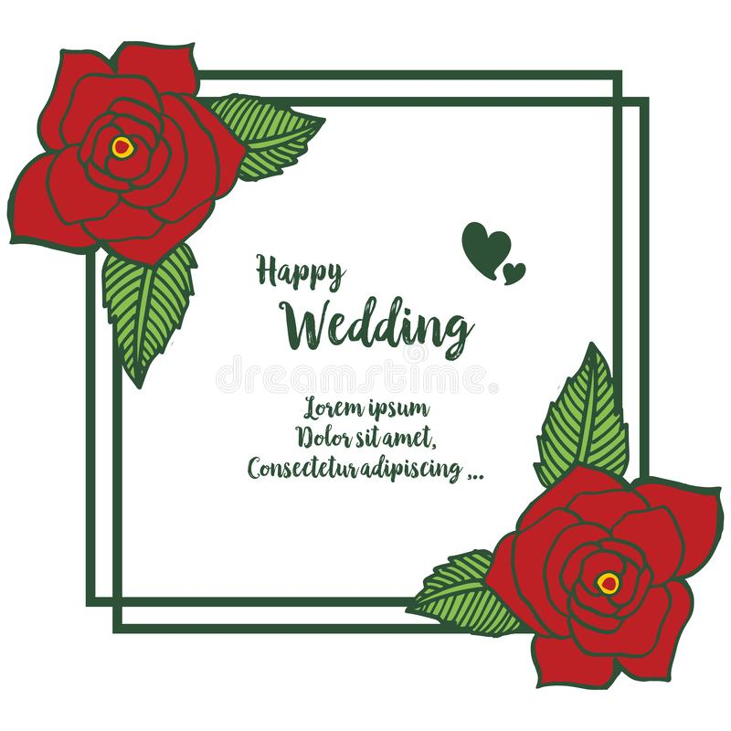 Beautiful greeting card, invitation card, template of happy wedding, design of cute wreath frame. Vector vector illustration