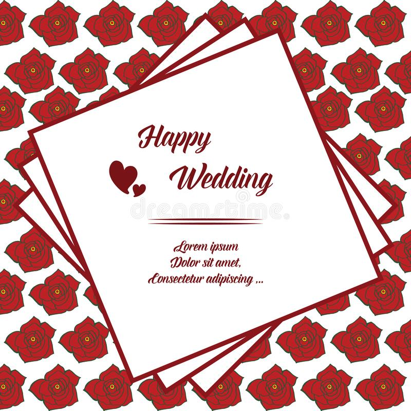 Beautiful greeting card, invitation card, template of happy wedding, design of cute wreath frame. Vector stock illustration