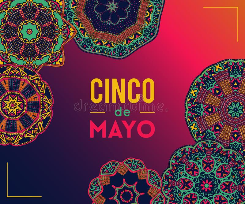 Beautiful greeting card, invitation for Cinco de Mayo festival. Design concept for Mexican fiesta holiday with ornate mandala. stock illustration