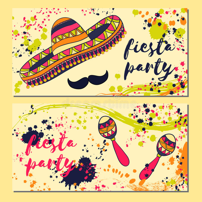 Beautiful greeting card, invitation for fiesta festival. Design concept for Mexican Cinco de Mayo holiday with maracas, sombrero, stock illustration