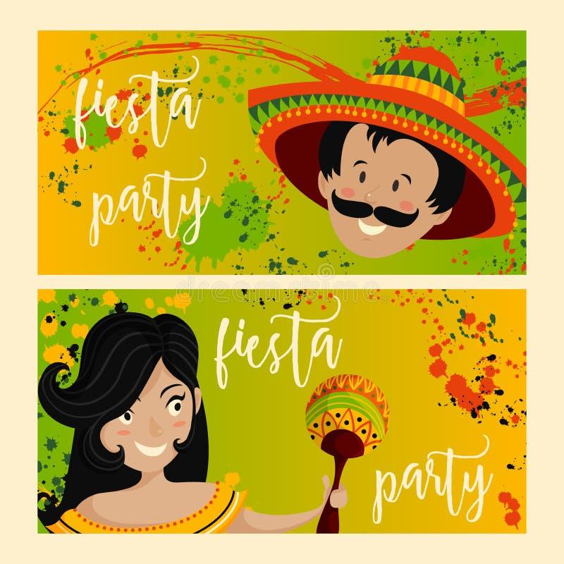 Beautiful greeting card, invitation for fiesta festival. stock illustration