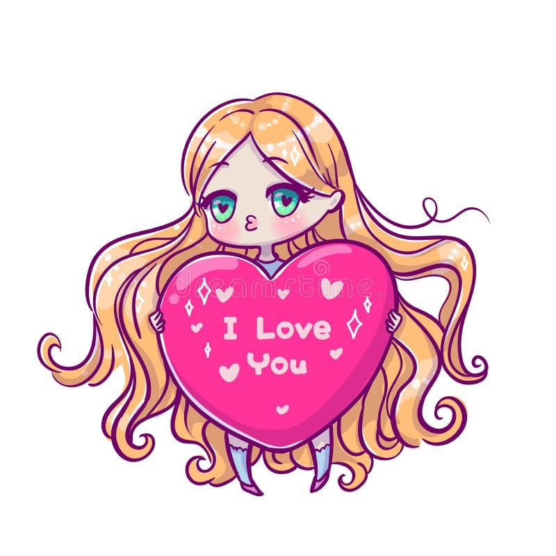 Beautiful Greeting Card Vector Illustration Cute Style Stock Vector Illustration Of Cartoon Anime 134724620