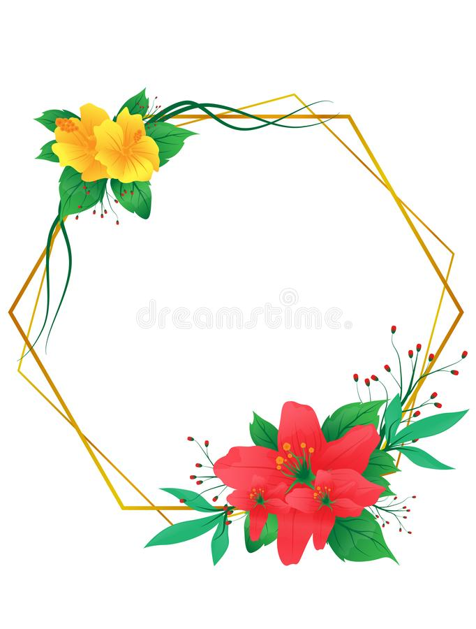 Beautiful greeting or wedding card. Modern tropical and blossom flower frame isolated on white background. Vector illustration in stock illustration